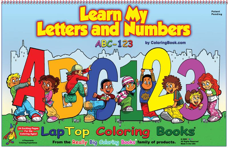 abc 123 learn my letters and numbers laptop coloring books 17x11 - Big Coloring Books