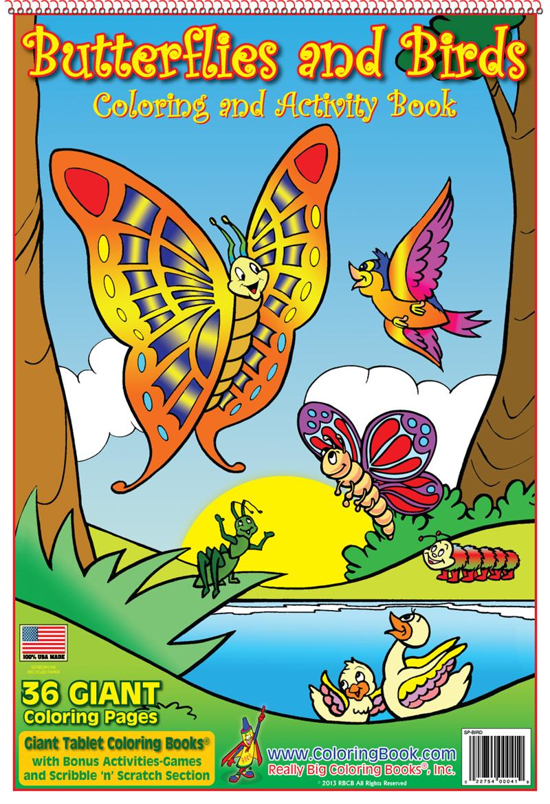 Coloring Book Publishers   Butterflies and Birds Giant Tablet ...