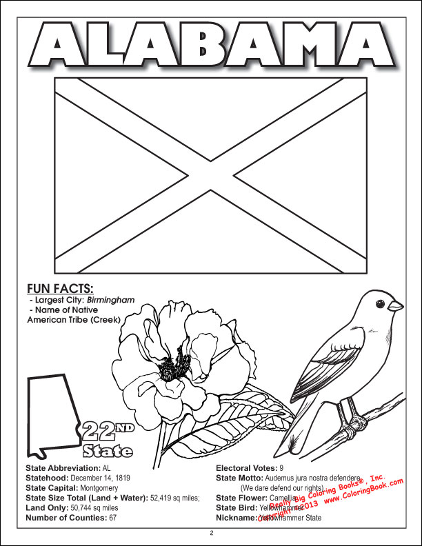 alabama coloring page - Coloring Book Publishers