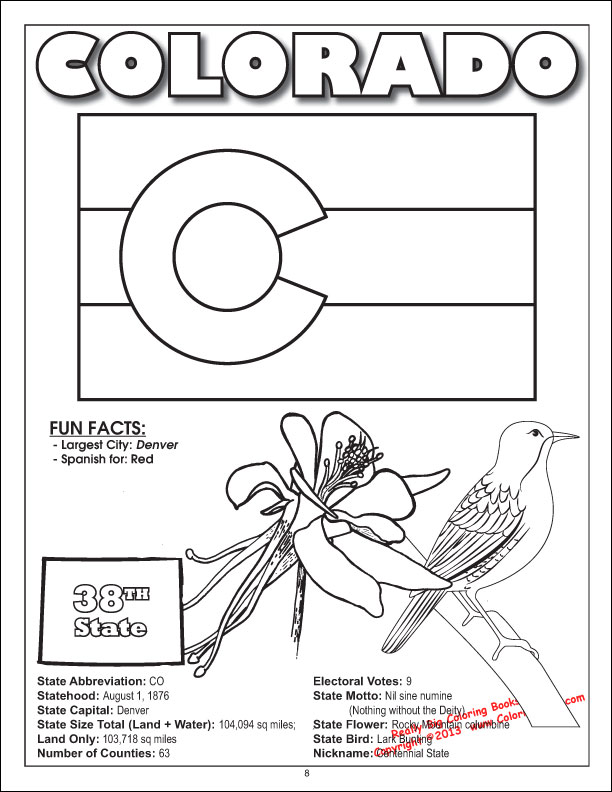 Coloring Book Publishers 50 United States Coloring Game Colorado State Flag Coloring Page