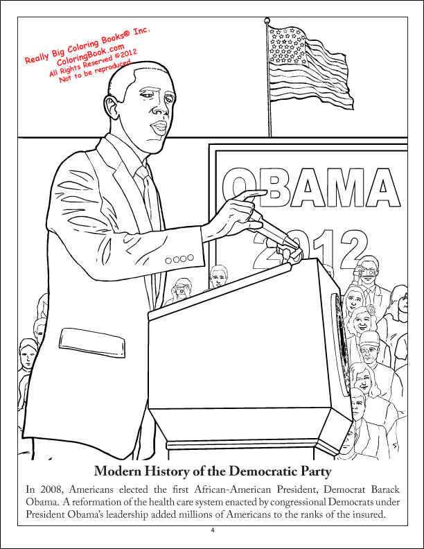 the democratic party coloring book - Barack Obama Coloring Book