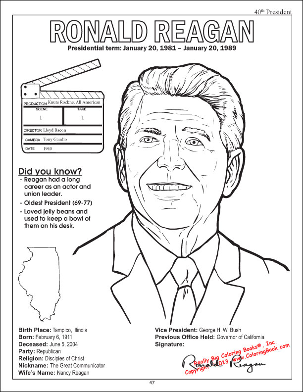 Ronald Reagan Coloring Page Kennedy Space Race Sheet At Mspartnersco