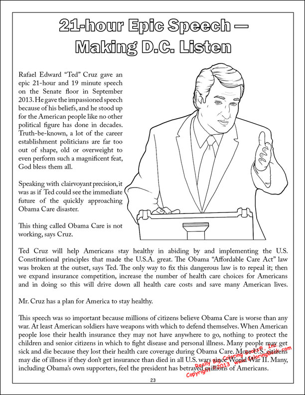 ted cruz to the future comic coloring activity book - Coloring Book Publishers
