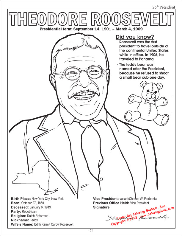 Theodore Roosevelt Coloring Page