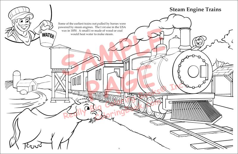 Coloring book publishers trains laptop coloring book