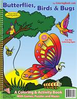 "Birds, Butterflies and Bugs Coloring Book (8.5""x11"")"